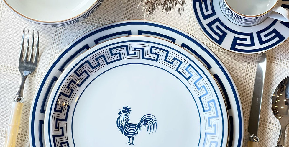 Lucky Rooster Collection Blue 12'li Tabak Set (78 parça)