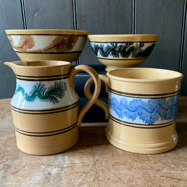 Yellow Ware with Mocha Decoration
