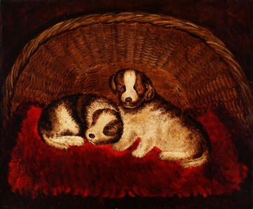 Folk Art Painting of Puppies