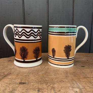 Pearlware Mugs with Mocha Decoration