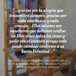 """Gianna, Pía, Sofía, Lourdes y Lucía. Sección """"Damas de María"""": Pquia San Pedro Apóstol"""