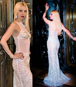 WHITE MESH SEQUINS GOWN