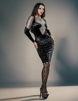 SPANDEX VELOUR WITH SEQUINED TULLE DRESS