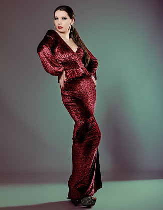 PRINT VELOUR GOWN WITH OPEN BACK