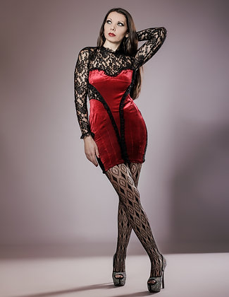 RED VELOUR AND LACE DRESS
