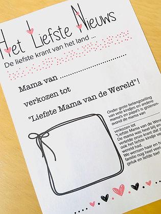 MOEDERDAGKRANT - Een persoonlijk krantje voor Lieve Mama's!