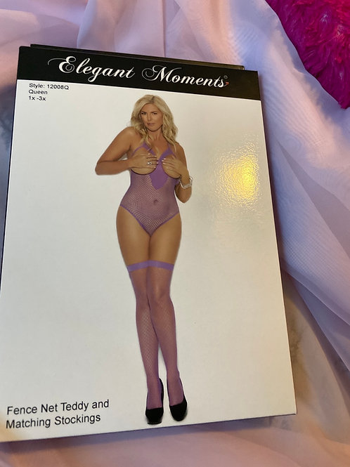 Plus size purple teddy with matching stockings
