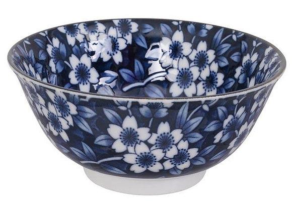 קערת פרחים רקע כחול כהה