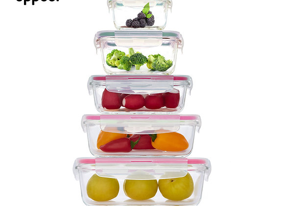 סט 5 כלי אחסון טורקיז GLASS CLOC מבית Food Appeal
