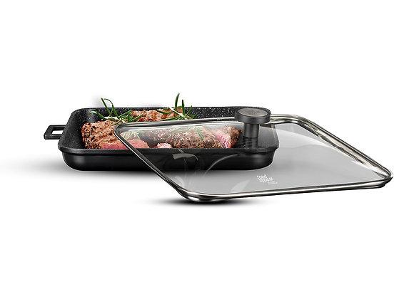 """פלטת גריל עם מכסה זכוכית 34*34 ס""""מ BLACK MARBLE מבית Food Appeal"""