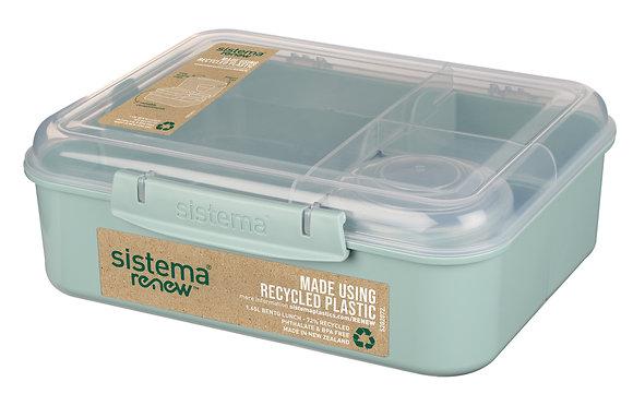 רה ניו - בנטו אחסונית מלבנית מחולקת 1.65 ל' עם מיכל תוספות 0/4 מ.צבעים כחול/ירוק