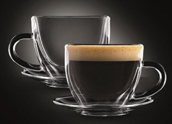 """סט 2 כוסות דאבל עם צלוחית 80 מ""""ל ESPRESSO CONGO מבית Food Appeal"""