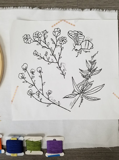 Natural Fibers Hand Embroidery Template