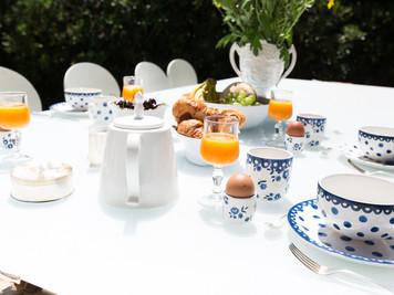 Завтрак в саду виллы