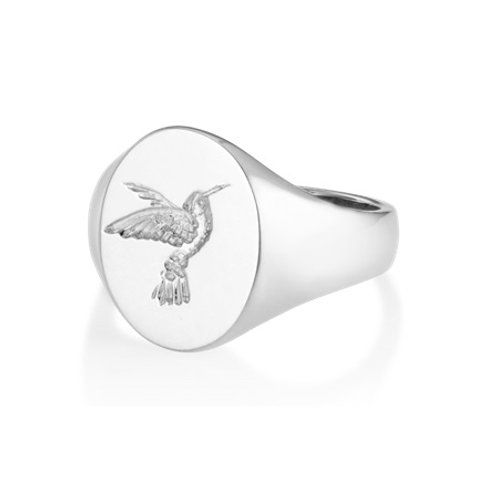 HUMMINGBIRD signet ring- Sterling silver