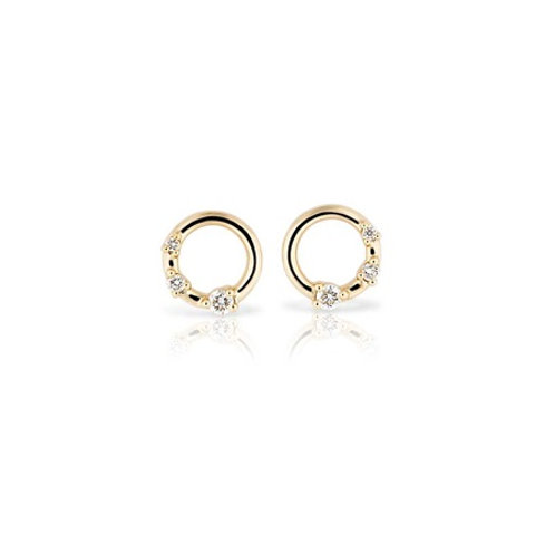 TRES Circle Studs- 9k gold & diamonds