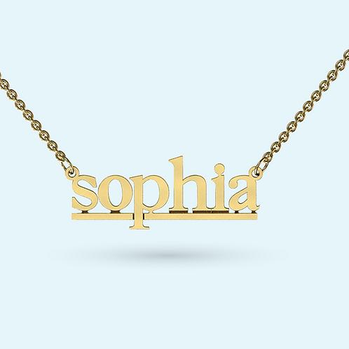 Underlined Name Necklace- 9k Gold