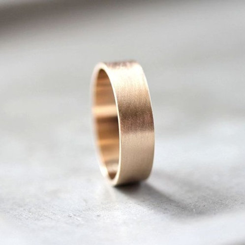 6mm Flat 9k gold wedding band