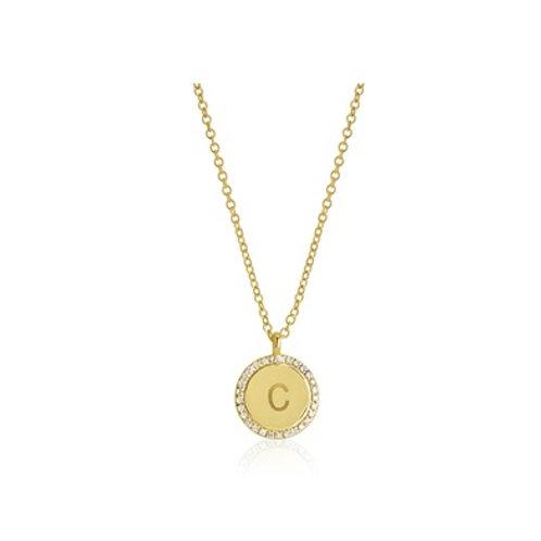 Pave DISK necklace- 9k gold & diamonds