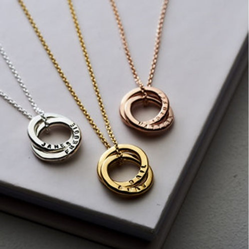 Double RUSSIAN RING necklace- 9k gold