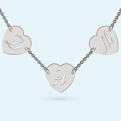 Multi Heart Necklace- 925 Sterling silver