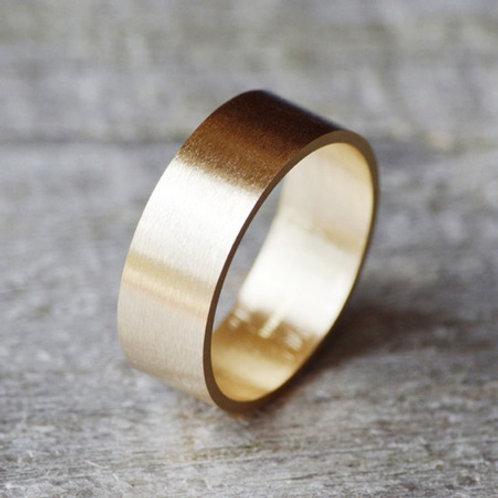 8mm Flat 9k gold wedding band