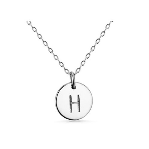 INITIAL DISK NECKLACE- Sterling silver