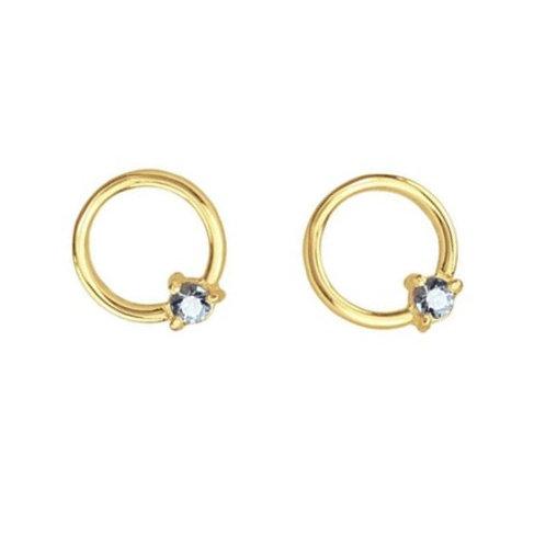 SOLO Circle Studs- 9k gold & diamonds