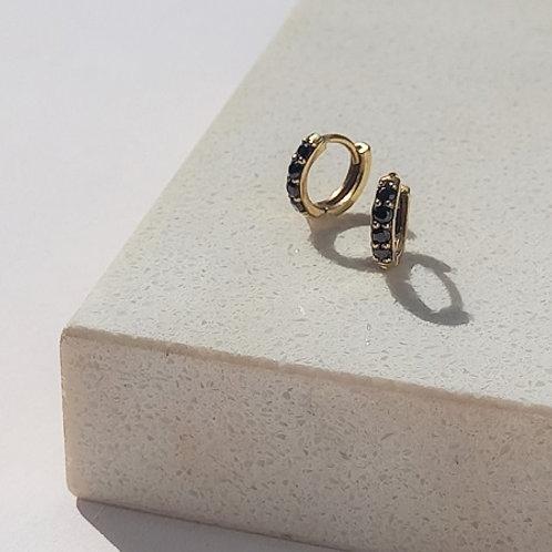 Mini Huggies- 9k gold & black diamonds