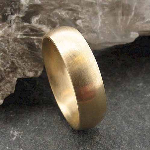 8mm D-shape 9k gold wedding band