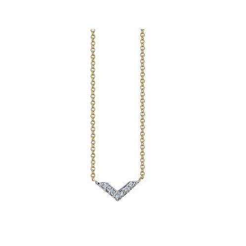 Mini CHEVRON necklace- 9k gold & diamonds