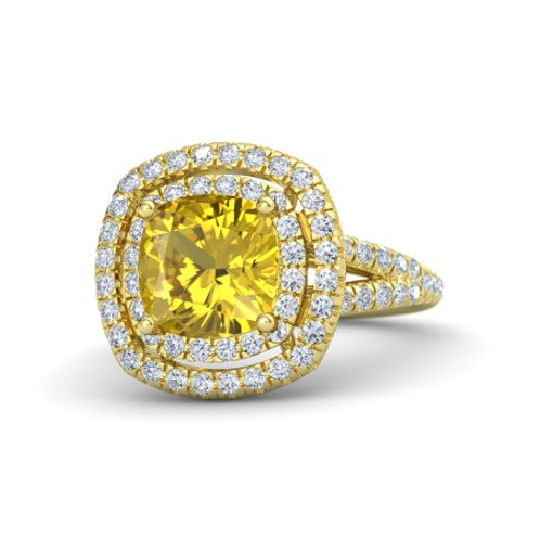 VICTORIA 18k Gold Yellow Sapphire  and Diamond Ring