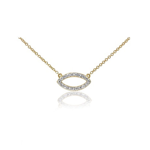 Mini ELLIPSE necklace- 9k gold & diamonds