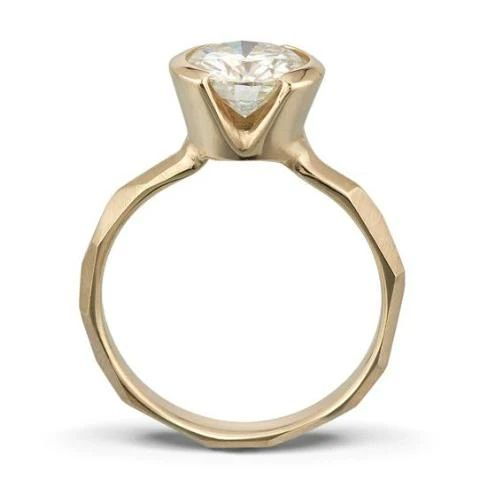 Partial Bezel  Faceted Engagement Ring b