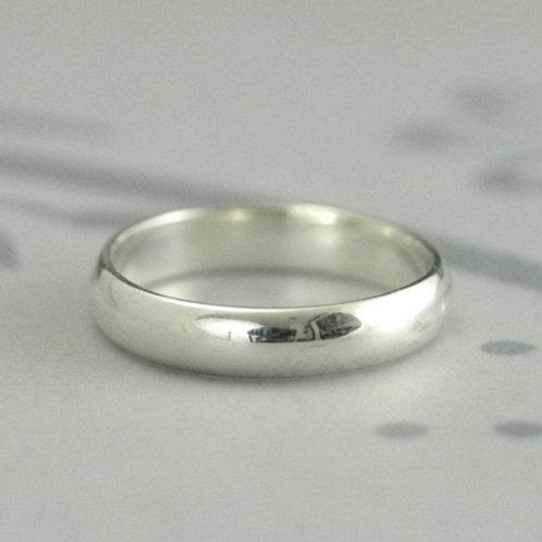D-shape 9k gold wedding band- 4mm