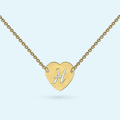 Intergrated Heart Necklace- 9k Gold