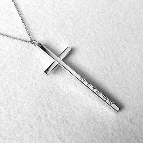 Slim CROSS necklace-Sterling silver