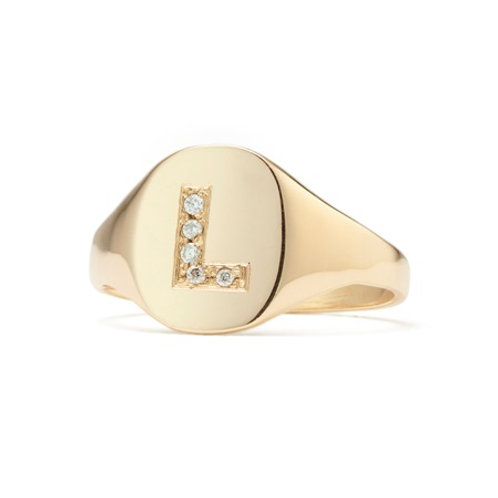 TAYLOR signet ring- 9k gold & diamonds