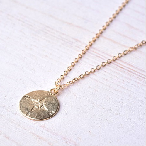 COMPASS necklace- 9k gold