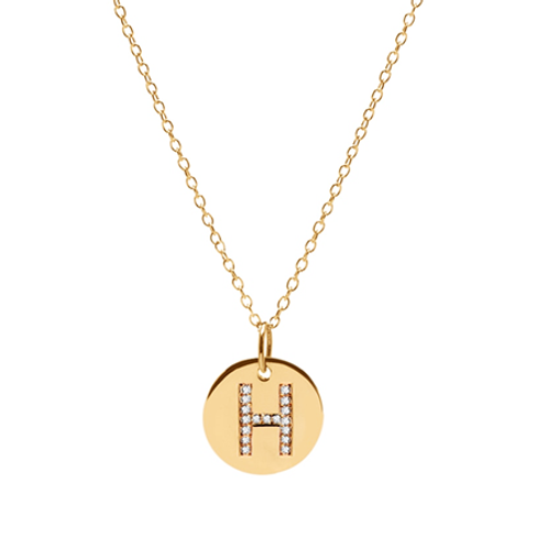 Diamond INITIAL necklace- 9k gold & diamonds