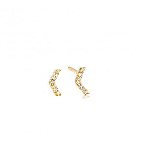 HONEYCOMB Studs- 9k gold and diamonds