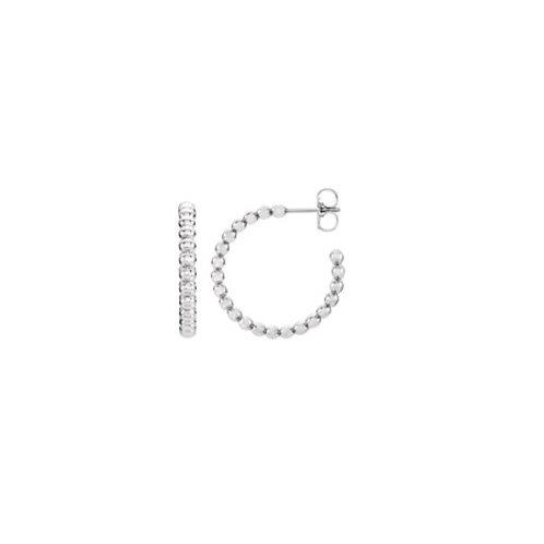 BEADED Hoop- Sterling silver