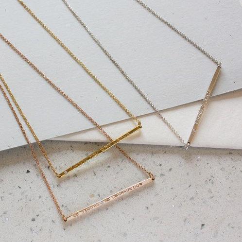 BAR necklace- 9k gold