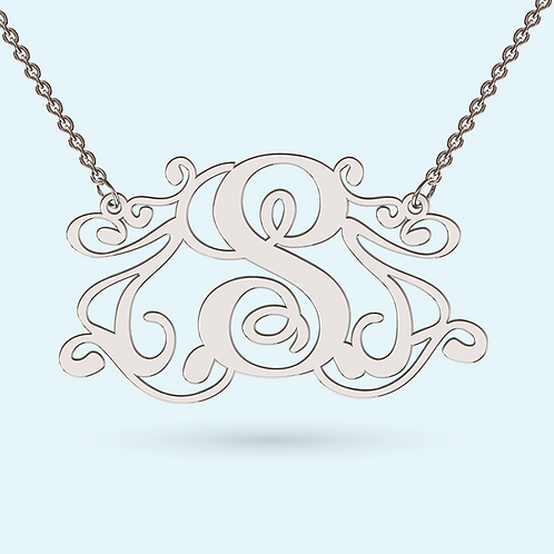 Fancy Initial Pendant Necklace- 925 Sterling silver