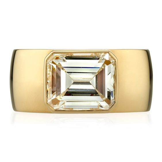 East-West Emerald Cut Diamond Ring