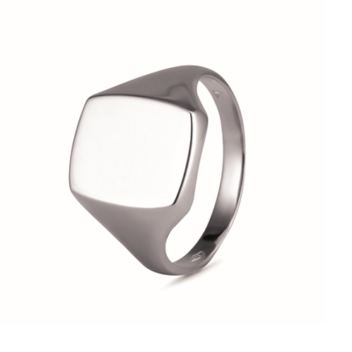 Gents Cushion signet ring- Sterling silver
