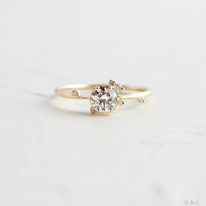 To A Flame Ring, Round Diamond by Melani