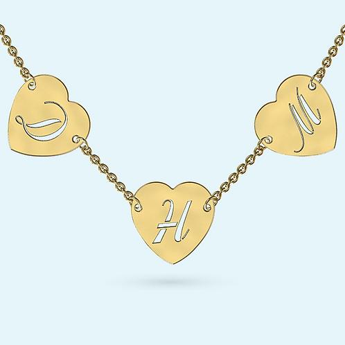 Multi Heart Necklace- 9k Gold