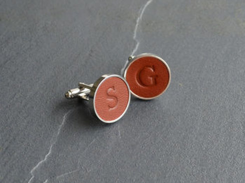 LEATHER cufflink- Sterling silver