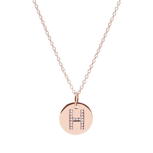 Diamond INITIAL necklace- 9k gold & diamonds